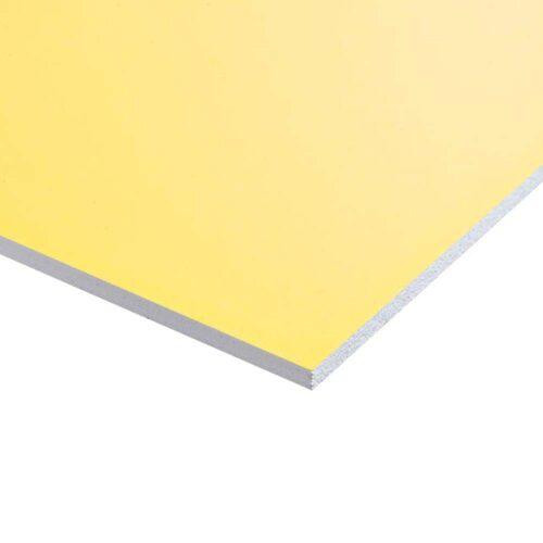 Plastplade gul (folieret) 122 x 244 cm. Plastplade gul (folieret) på mål.