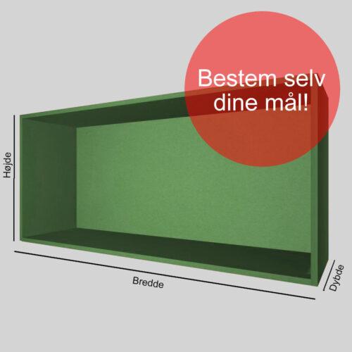 Kasse på mål grøn gennemfarvet MDF 16 mm