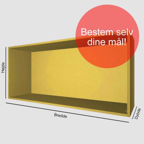 Kasse på mål gul gennemfarvet MDF 16 mm