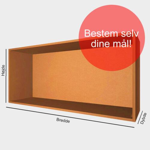 Kasse på mål orange gennemfarvet MDF 16 mm